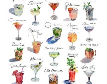 """12"""" Framed Square Cocktail Compilation Print"""