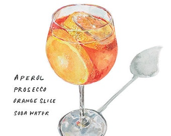Aperol Spritz 9x12 Framed Watercolor Cocktail Print