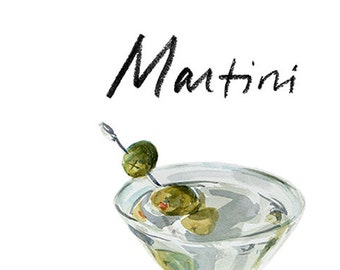 Martini Cocktail 9x12 Framed Watercolor Print