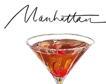 Manhattan Cocktail 9x12 Framed Watercolor Print