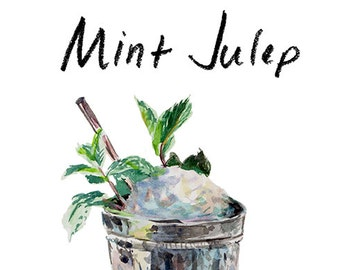 Mint Julep Cocktail 9x12 Framed Watercolor Print
