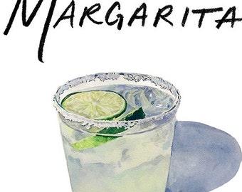 Margarita Cocktail 9x12 Framed Watercolor Print