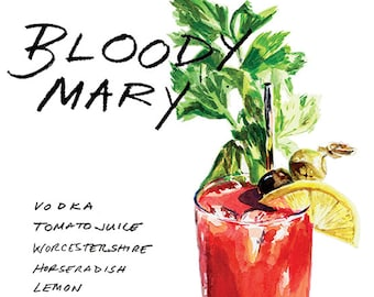 Bloody Mary Cocktail 9x12 Framed Watercolor Print