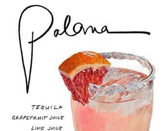 Paloma Cocktail 9x12 Framed Watercolor Print