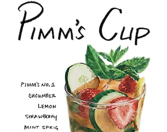 Pimm's Cup Cocktail 9x12 Framed Watercolor Print