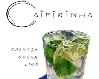 Caipirinha Cocktail 9x12 Framed Watercolor Print