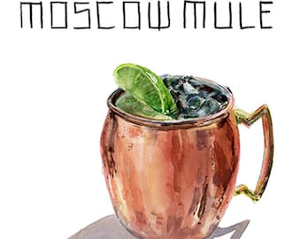 Moscow Mule Cocktail 9x12 Framed Watercolor Print
