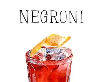 """Negroni Framed Cocktail Print 9""""x12"""" framed print"""