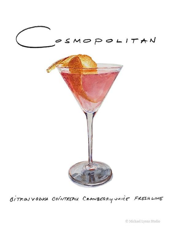 Cóctel cosmopolita 9 x 12 con marco imprimir acuarela