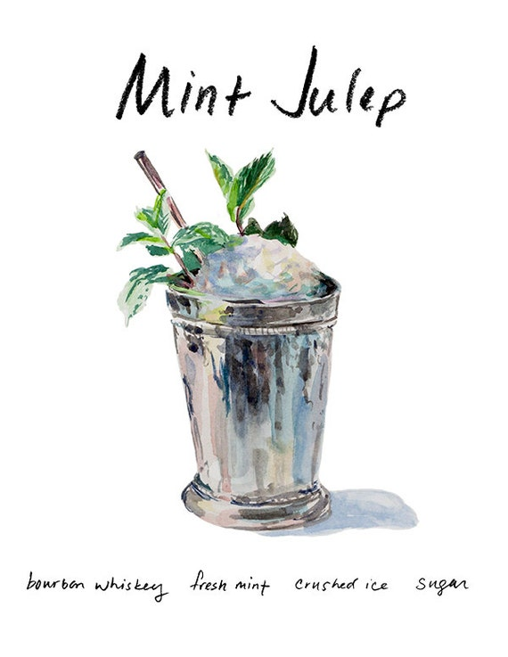 Mint Julep coctel 9 x 12 con marco imprimir acuarela | Etsy