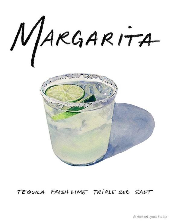 Margarita coctel 9 x 12 con marco imprimir acuarela