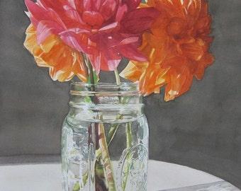 Mason Jar Dahlias Watercolor Limited Edition Print