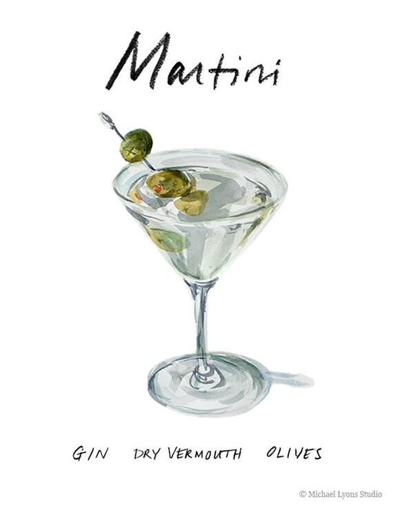 Martini Cocktail 9 x 12 con marco imprimir acuarela | Etsy