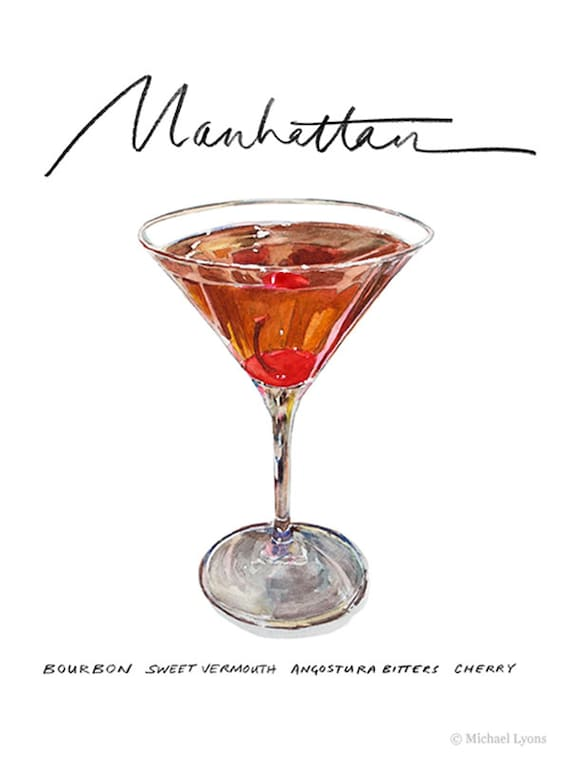 Manhattan Cocktail 9x12 Framed Watercolor Print Etsy