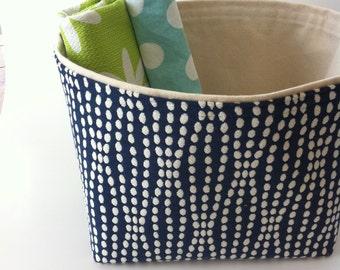 blue and cream textured // large fabric storage basket // bin