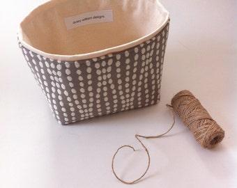 gray and cream textured small fabric storage bin // modern // neutral