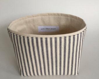 new ~  small fabric storage bin // blue ticking stripe