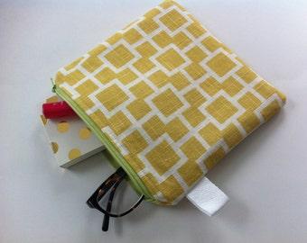 linen square pouch // mustard and white geometric design