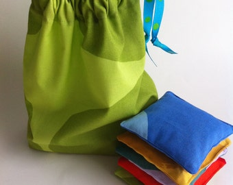 beanbag set of 5  with lime drawstring pouch // marimekko fabric // AS SEEN IN New York Magazine