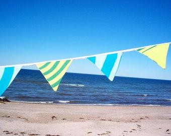 marimekko fabric flag banner decoration // lime and aqua