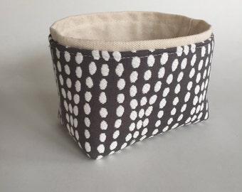 NEW ~ mini fabric storage bin // textured dark gray and cream // modern basket