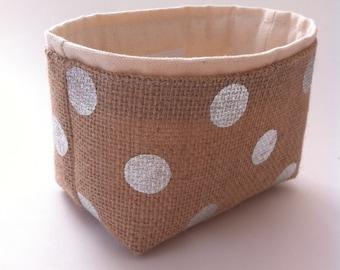 mini storage bin // burlap and silver polka dot