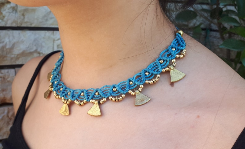Yoga Jewelry Gift for Her Hippie Necklace Pendant Jewelry hippie Jewelry Boho Style Macram\u00e8 Choker Macram\u00e8 Necklace Macram\u00e8 Jewelry