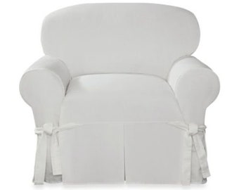 Armchair slipcovers Wing Back Chair Sure Fit Designer Twill Chair Slipcover White Slip Cover Etsy Chair Slipcovers Etsy