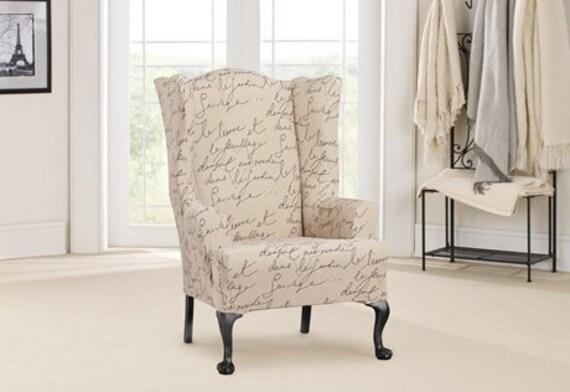 Remarkable Stretch Pen Pal By Waverly Wing Chair Slipcover Inzonedesignstudio Interior Chair Design Inzonedesignstudiocom