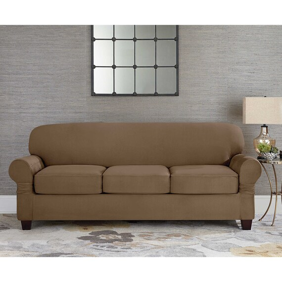 suede Taupe Individual Cushion Sofa Slipcover 3 cushion style t or box