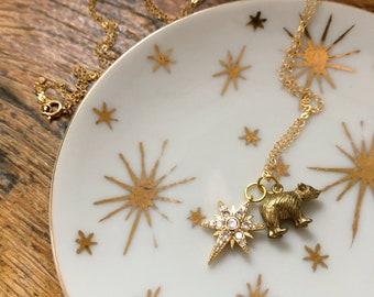 ursa major necklace / bear & starburst charm necklace / constellation necklace / ursa major bear / great bear constellation / bear necklace