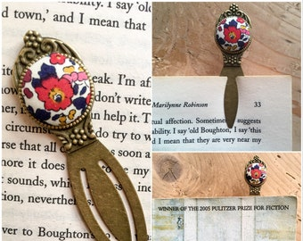 Liberty Fabric Bookmark - bookworm / teacher gift
