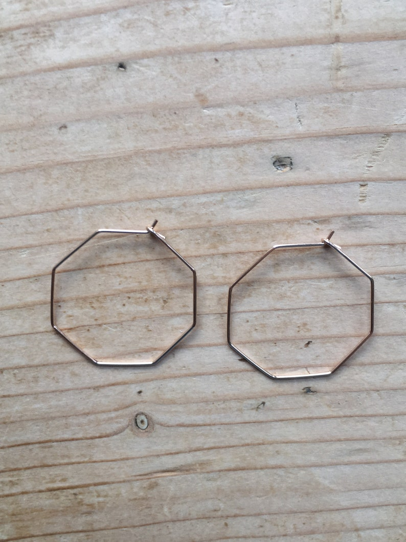 Rose Gold  Silver Hexagon Hoop Earrings Minimalist  Geometric Jewellery