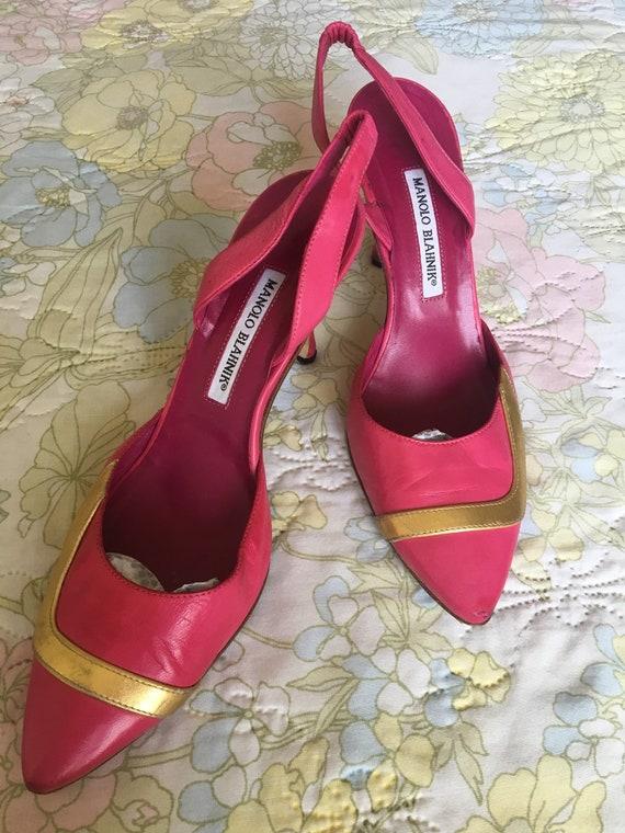 Vintage 1990s Pink Manolo Blahnik Leather Stilett… - image 1