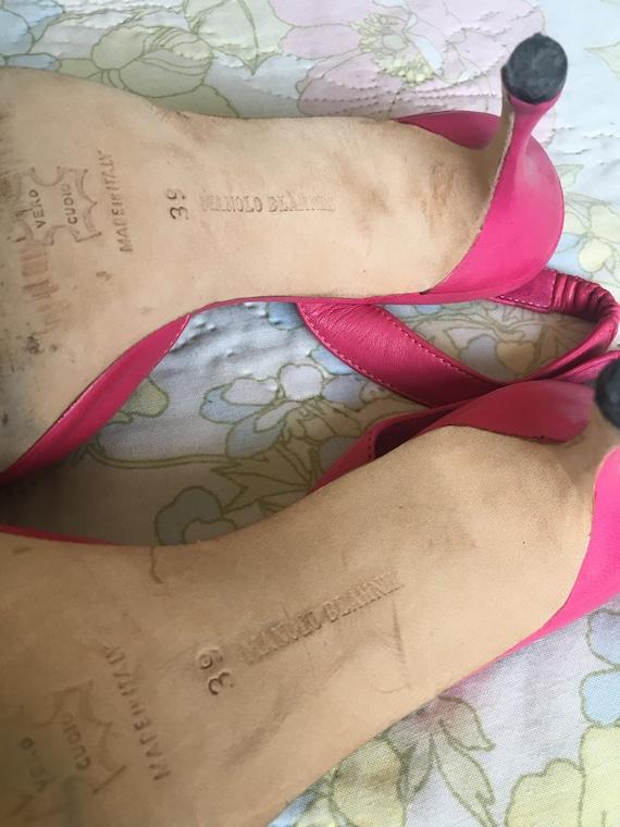 Vintage 1990s Pink Manolo Blahnik Leather Stilett… - image 4