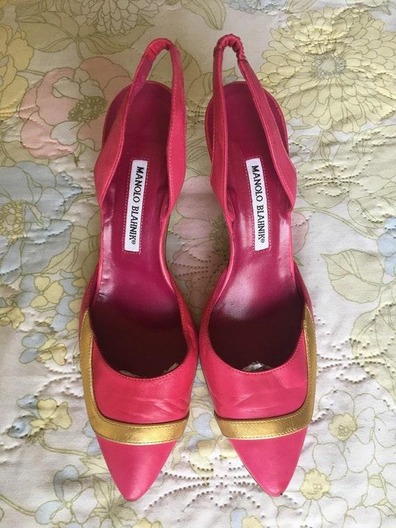 Vintage 1990s Pink Manolo Blahnik Leather Stilett… - image 2