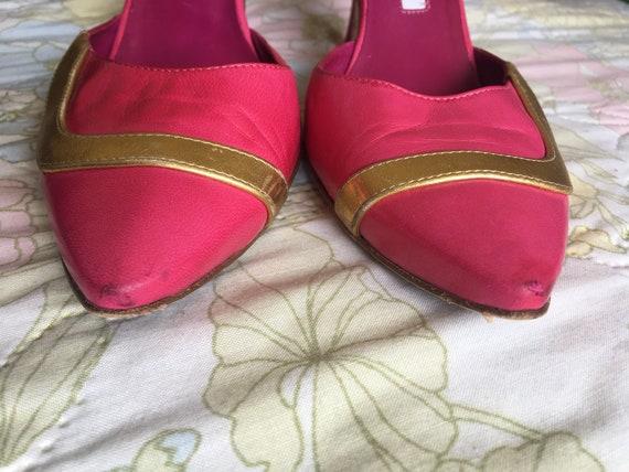 Vintage 1990s Pink Manolo Blahnik Leather Stilett… - image 9