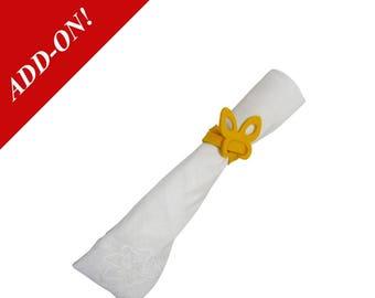 "Wool Felt Butterfly Napkin Ring - Yellow, 10"" Long, 1/8"" Thick, 100% Wool Felt, Add On Item, Napkin Holder"