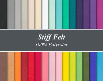 """Solid Colour Stiffened Felt Sheets - 12"""" X 12"""", Over 25 Colours and Multiple Pack Sizes Available"""