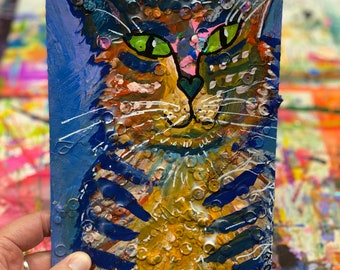 """Kitty """"Ralph""""-Original Mixed Media Painting on Paper"""