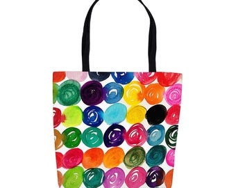 Colorful Dots 13 X 13 Inch Or 18 X 18 Inch Tote Bags