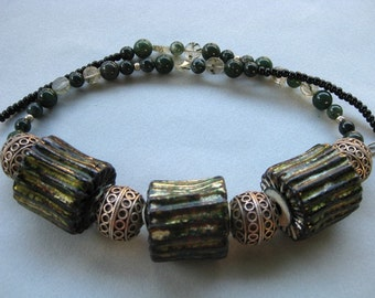 Enamel fold formed beads with sterling, moss agate, quartz