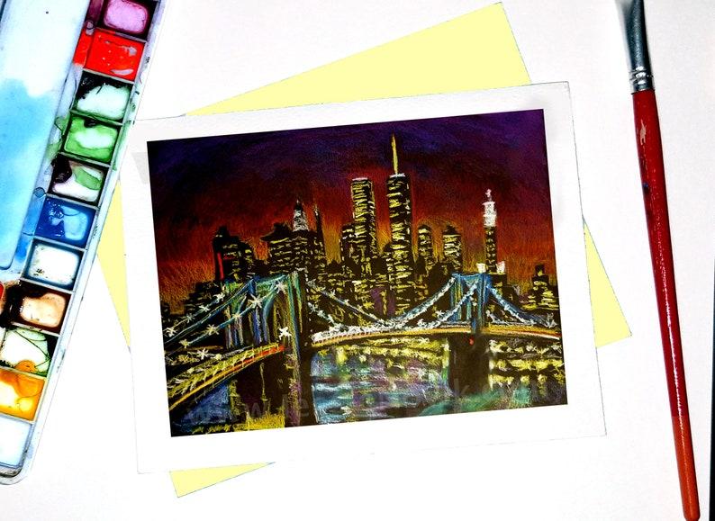 New York Watercolor Holiday Card Greeting NYC Skyline