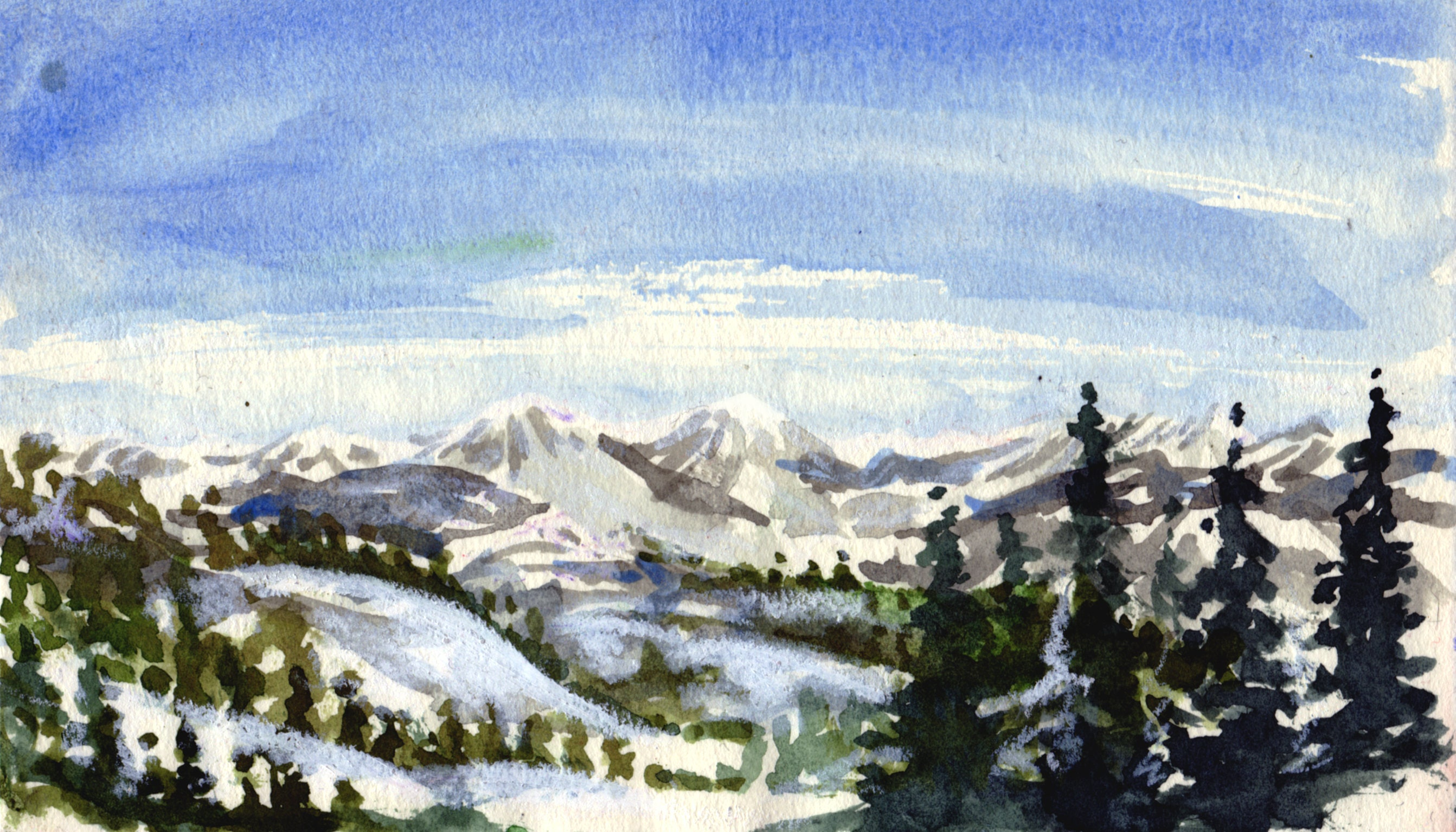 ACEO Colorado Landscape Painting Original Watercolor Art Small Card 2.5 by 3.5 inches