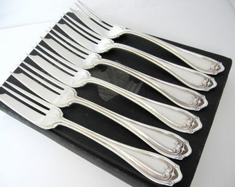 Antique Pie Forks, Abington 1910 Pattern by Wm A Rogers, Silverplate Set of 6 Vintage Flatware Silverware