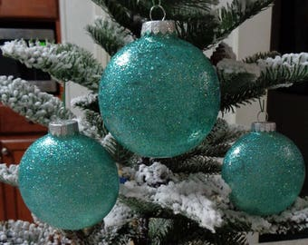 set of 3 teal glass orbs christmas tree ornaments - Teal Christmas Ornaments