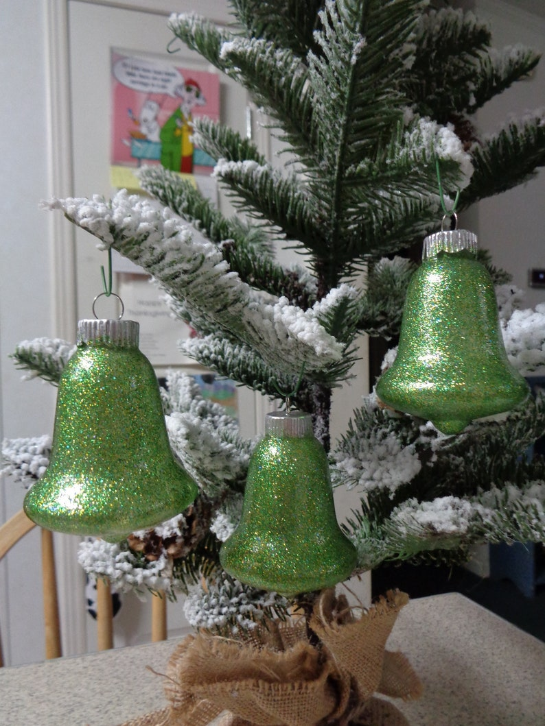 Set Of 3 Lime Green Glass Bells Christmas Tree Ornaments