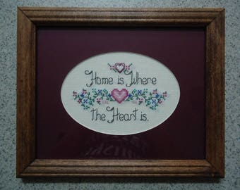 Home Is Where the Heart Is - Claret - Cross Stitch Picture - Wall Decor