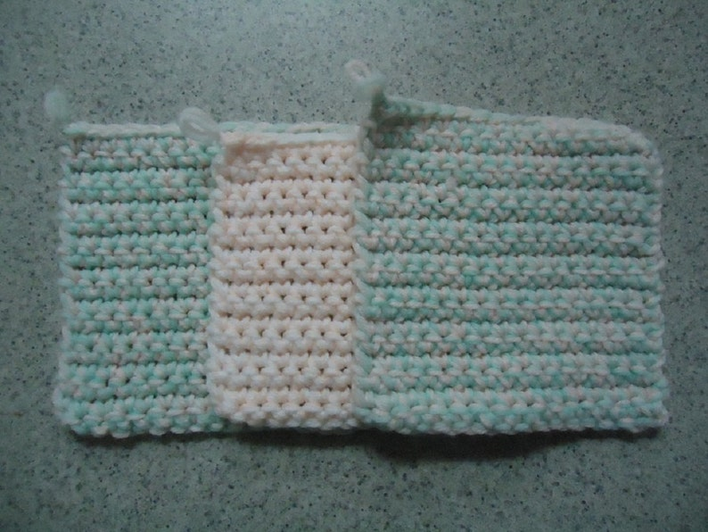 Kitchen Decor Set of 3 Mint Green and Pale Peach Hand Crocheted Potholders