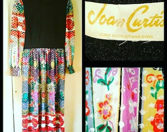 Joan Curtis Shimmering 70's  Evening Gown, Vibrant Metallic Print, Size 10